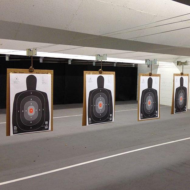 Indoor targets at High Caliber Gun Range