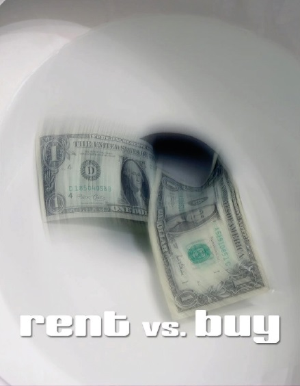 Image of money down the toilet rent vs. buy a home