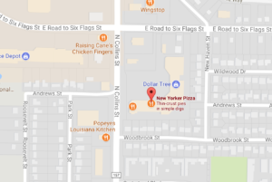 Image of Google Map for New Yorker Pizza Arlington TX